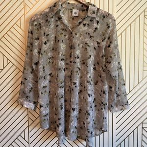 CAbi • women's XS style #5204 floral blouse sheer
